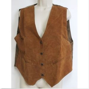 MPH Maria Brown Leather Suede Vest Western Country